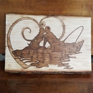 Customizable fishing couple plaque